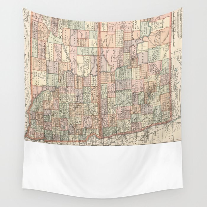 Vintage Map of North and South Dakota (1891) Wall Tapestry by bravuramedia