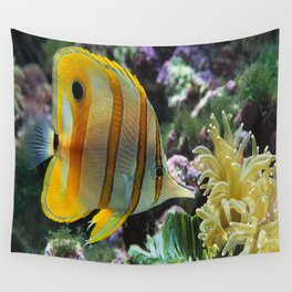 Yellow Longnose Butterfly Fish Wall Tapestry