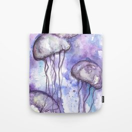 Violet Jellyfish Bloom Tote Bag
