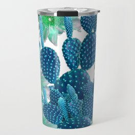 SURREAL BLUE PEAR CACTUS & FLOWERS DESERT ART Travel Mug