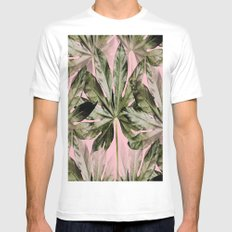 Large green leaves on a pink background - beautiful colors White MEDIUM Mens Fitted Tee