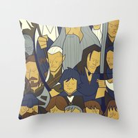 lord of the ring Throw Pillows featuring The Fellowship of the Ring by Ale Giorgini