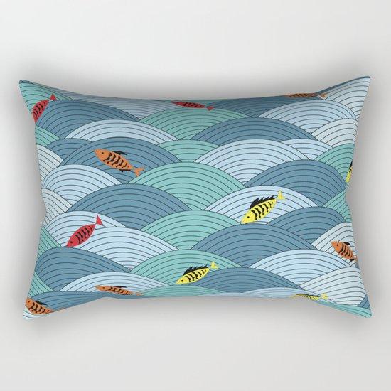 wave and fish Rectangular Pillow