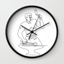 Blacksmith Hammer Continuous Line Wall Clock