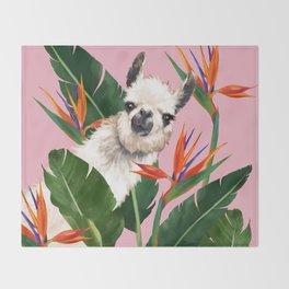 Llama in Bird of Paradise Flowers Throw Blanket