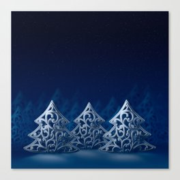 Three white Christmas trees Canvas Print