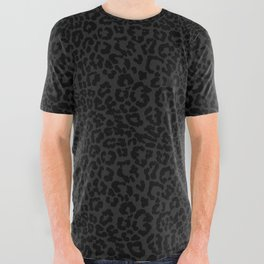 Goth Black Leopard All Over Graphic Tee