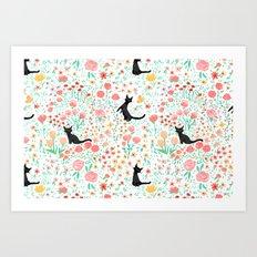 Lucky Cat Garden Art Print