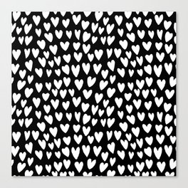 Linocut printmaking hearts pattern minimalist black and white heart gifts Canvas Print