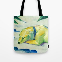 "Franz Marc ""Dog Lying in the snow"" Tote Bag"