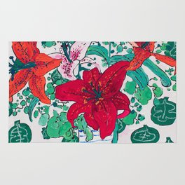 Tropical Lily Bouquet in Delft Vase with Matisse Leaf Cutout Background Rug