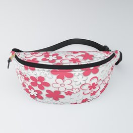 Red and white paper flowers 2 Fanny Pack
