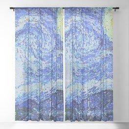 PIXEL STARRY NIGHT Sheer Curtain