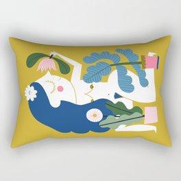 Blue Plant Lady Rectangular Pillow
