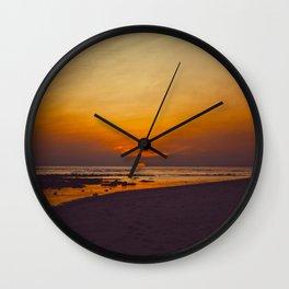 Vintage Sepia Orange Rustic Sunset Over The Ocean Wall Clock