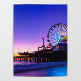 Santa Monica purple sunset Poster