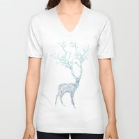 key V-neck T-shirts featuring Blue Deer by Huebucket