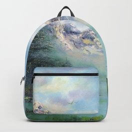 Morning in mountains. mountain landscape Backpack