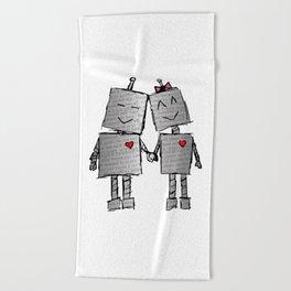 Lovebots Doodle Beach Towel
