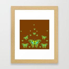 GREEN-YELLOW MOTHS ON COFFEE BROWN Framed Art Print