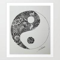 yin yang Art Prints featuring Yin Yang by Ian Nicholson
