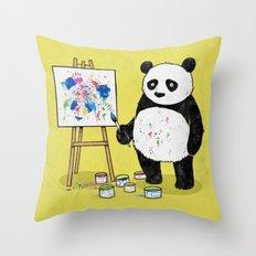 Panda Painter Throw Pillow