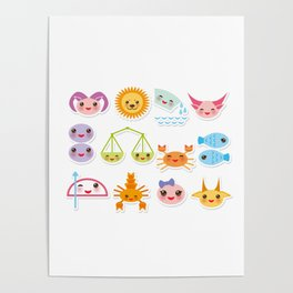 Funny Kawaii zodiac sign, astrological stiker virgo, aries, gemini, cancer, aquarius, taurus,  leo Poster