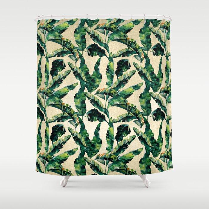 Banana Leaf Pattern Linen Shower Curtain By Followmeinstead