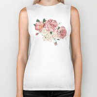playstation Biker Tanks featuring Watercolor rose by eARTh