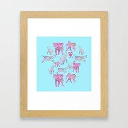 Pink and Lavender Elephants Framed Art Print