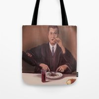 magritte Tote Bags featuring Rene Magritte- self portrait by Dano77