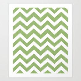 Olivine - green color - Zigzag Chevron Pattern Art Print