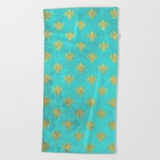 Queenlike on aqua I  Gold Heraldry elements on turquoise background Beach Towel