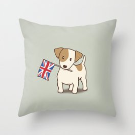 Jack Russell Terrier and Union Jack Illustration Throw Pillow