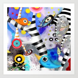 Brainwashing - Good bye Sozialismus - Floating Ideas - BIRDS STRIPED TREE Art Print