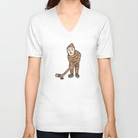 hockey V-neck T-shirts featuring Hockey Yeti by Kip Noschese