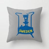 sweden Throw Pillows featuring Sweden | Brass Pressure Stove by mailboxdisco