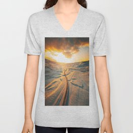 iceland road aerial view Unisex V-Neck