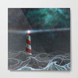 Lighthouse illuminated at night stormy sea Metal Print