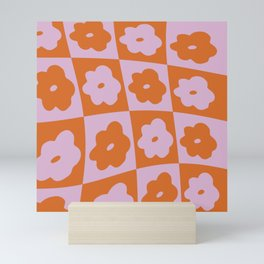 Retro Wavy Check Floral - Lavender Rust3 Mini Art Print