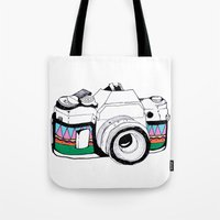 camera Tote Bags featuring Camera by Mariam Tronchoni