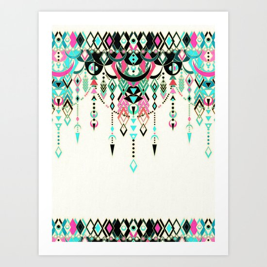 Modern Deco in Pink and Turquoise Art Print