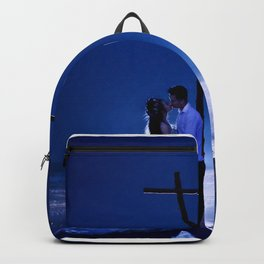 Married Couple Embraces On The Beach (Wedding) Backpack