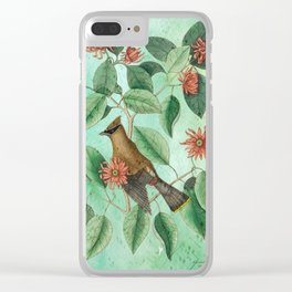 Bohemian Waxwing with Carolina Allspice, Antique Natural History Collage Clear iPhone Case