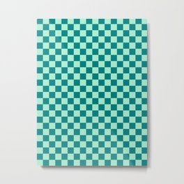 Magic Mint Green and Teal Green Checkerboard Metal Print