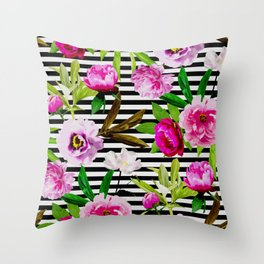 Pink & Magenta-Red Floral Pattern On Striped Background Throw Pillow