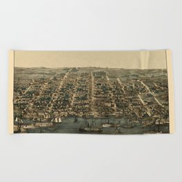 Map of Alexandria 1863 Beach Towel