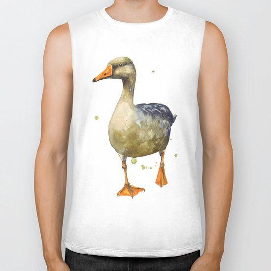 Goose, golden goose, goosey goosey gander, fowl art, farmyard animals, kitchen wall art Biker Tank