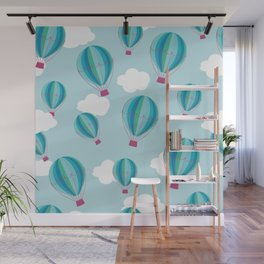 Hot air balloons and clouds - blue Wall Mural
