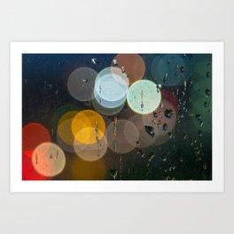 Bokeh and Water Drops Art Print